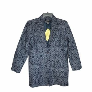 Dialogue Black Lace Print Blazer New